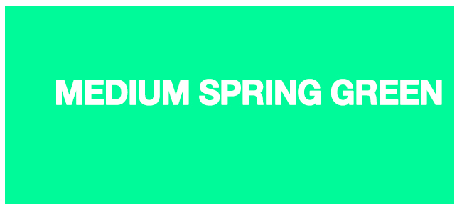 Color html medium Spring Green #00FA9A