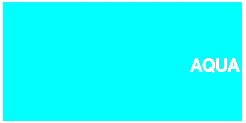 Color html hex#00ffff nombre en ingles: Aqua