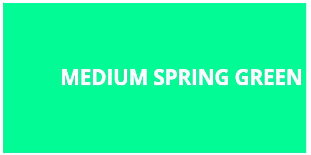 Color html Medium spring green hex #00fa9a