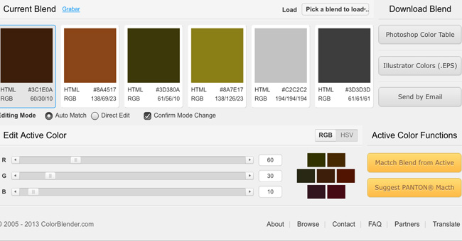 Color schemes generator or Color picker color blender