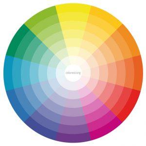 círculo cromático de colores primarios, secundarios y terciarios