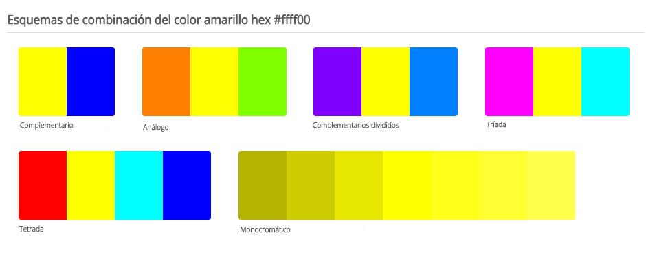 Esquema de colores que combinan con amarillo