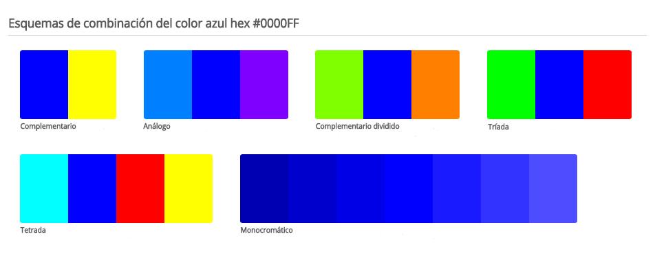 Esquema de colores que combinan con azul