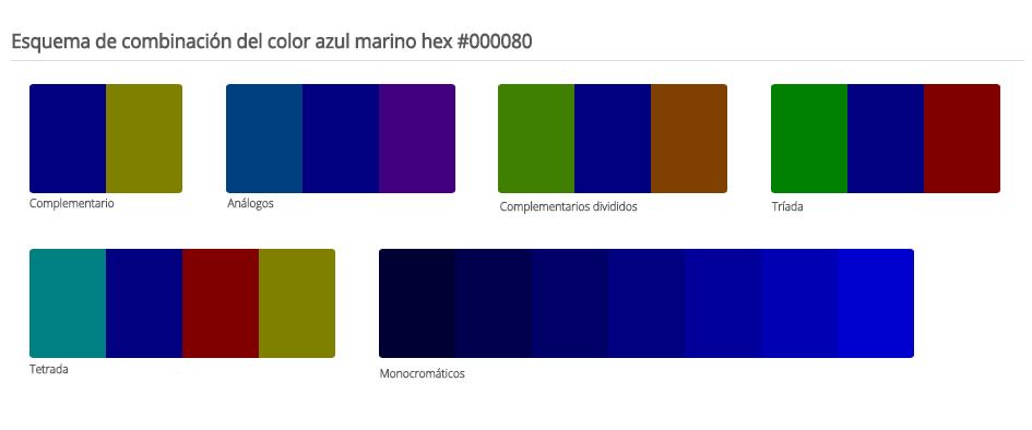 Esquema de colores que combinan con el azul marino