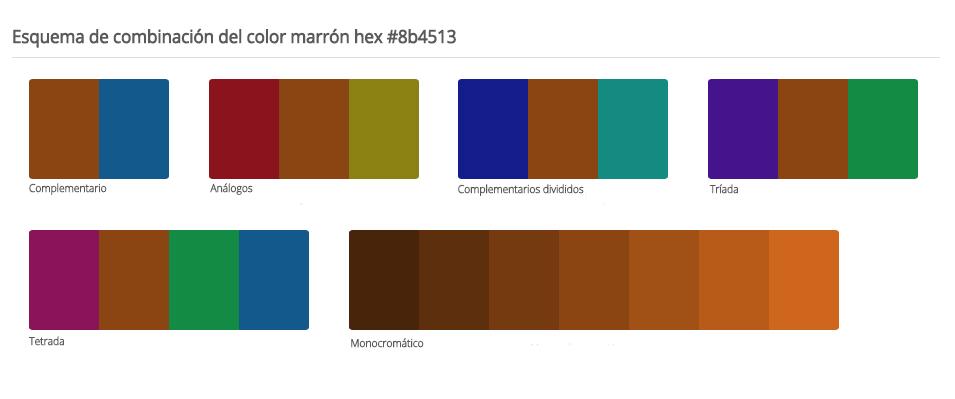 Esquema de colores que combinan con marrón