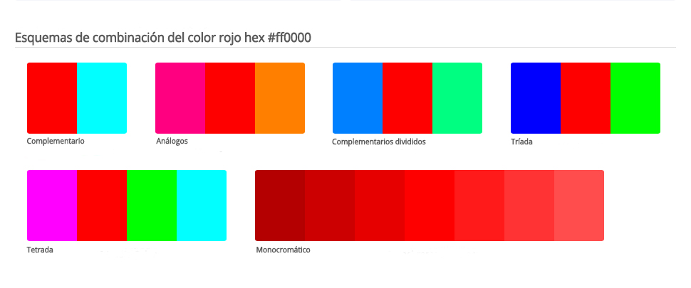 Esquema de colores que combinan con rojo