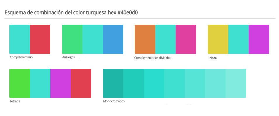 Esquema de colores que combinan con turquesa