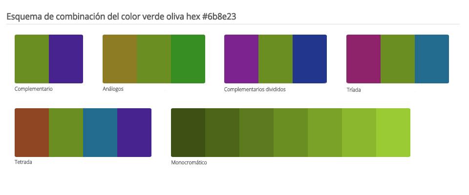 Esquema de colores que combinan con verde oliva