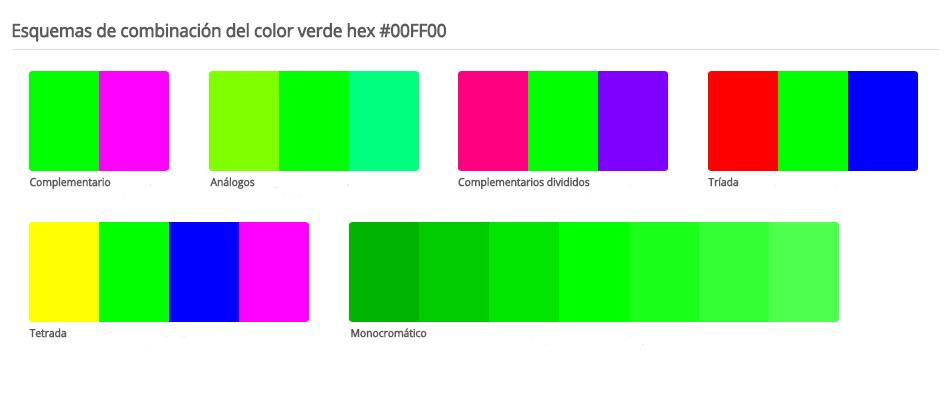 Esquema de colores que combinan con verde