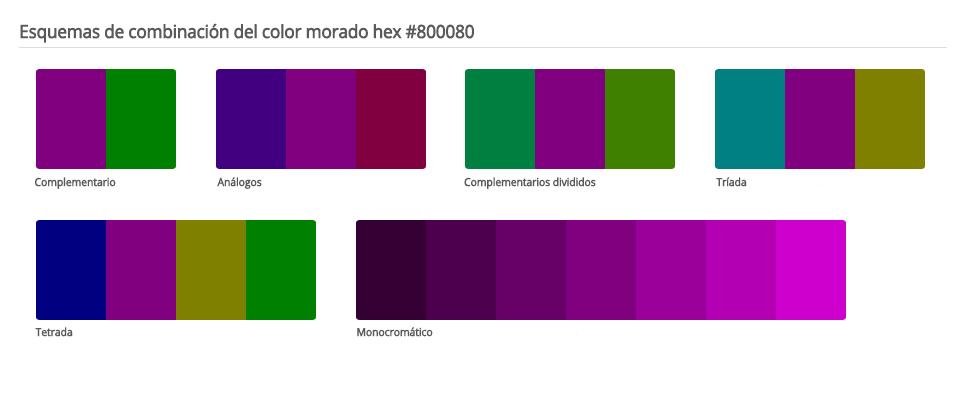 Esquema de colores que combinan con morado