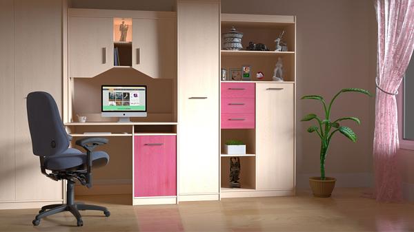 interiorismo con detalles en rosa en despacho para significado de los colores en la publicidad