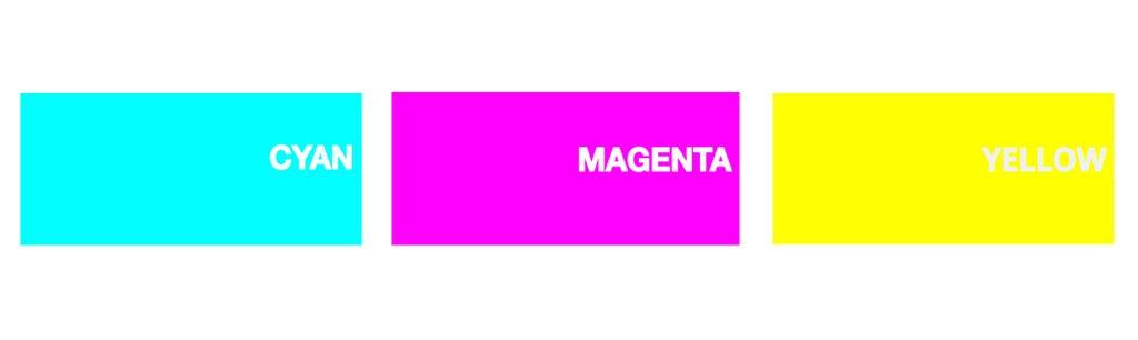 colores secundarios RGB cyan-magenta-yellow