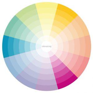 Ejemplo de combinación de colores en la rueda de colores
