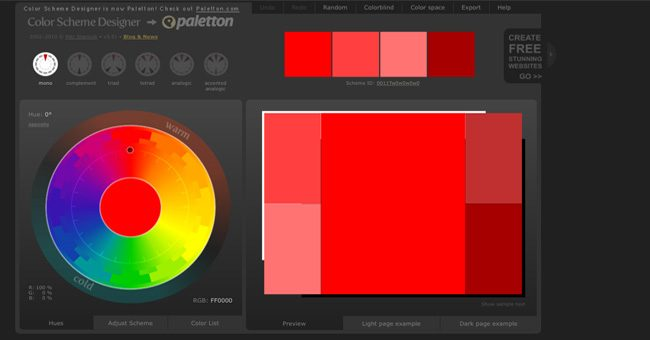 Color schemes generator or Color picker Color Schema Designer