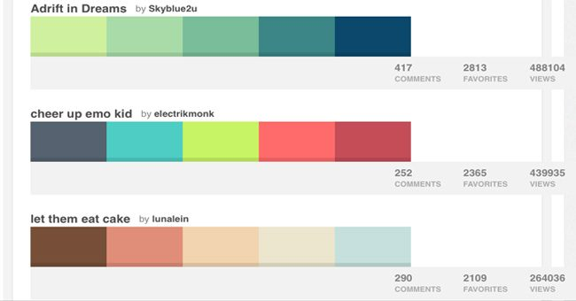 Color schemes generator or color pickers colour lovers