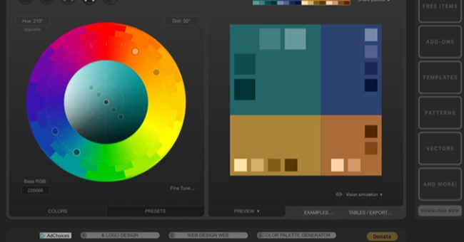 color schemes generator or color pickers paletton